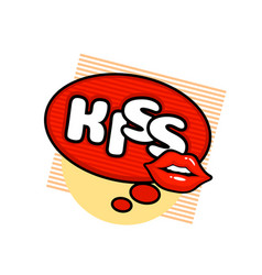 kiss label sticker a a message red lips vector image