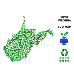 Leaf green mosaic west virginia state map vector