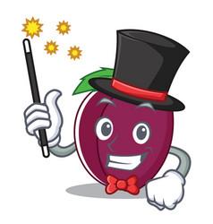 magician plum mascot cartoon style vector image