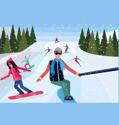 man taking selfie photo snowboarders skiers people vector image