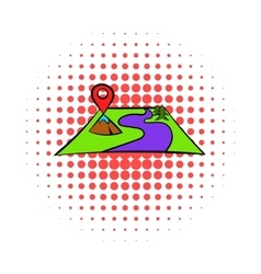 Map with pin pointers icon comics style vector