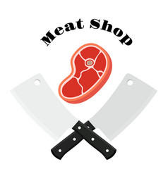 meat shop logo with raw meat and cleavers knifes vector image