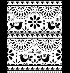Mexican folk art seamless birds pattern vector