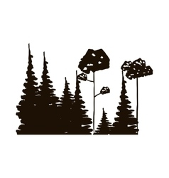 Monochrome forest with pines and leafy trees vector