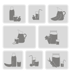 monochrome set with Fruit Juice Icons vector image