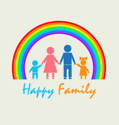 my family under the rainbow vector image