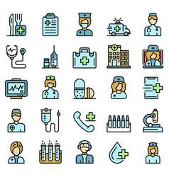 nurse icons set flat vector image