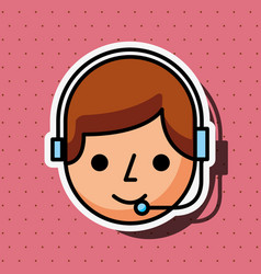 operator cartoon with headset customer service vector image