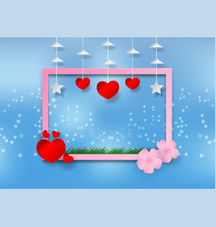 paper art style of flower with heart and frame on vector image