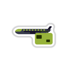 Paper sticker on white background aircraft luggage vector