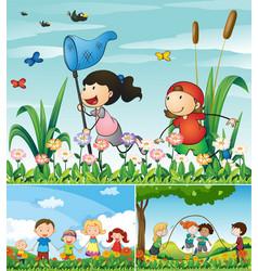 people being happy in the garden vector image