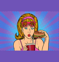 Pop art woman with fast food vector
