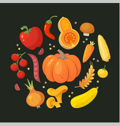 Red orange and yellow vegetables in circle vector