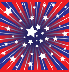 Red white and blue rays vector