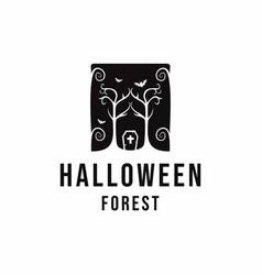 Retro styled halloween forest logo design vector