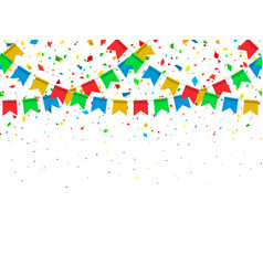 seamless pattern festive flags and confetti vector image