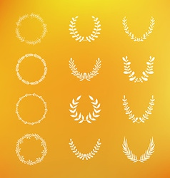 set hand drawn laurel and floral wreaths vector image