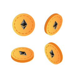 set of crypto currency golden ethereum coins vector image