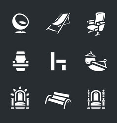 Set of different armchairs icons vector