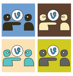 Set of flat of vine icon vector