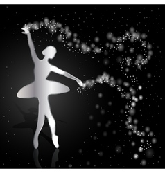 Silver ballerina on dark background vector image