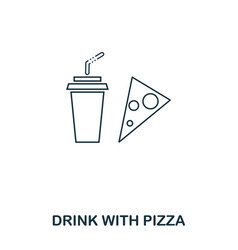 simple outline drink with pizza icon pixel vector image