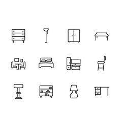 Simple set symbols furniture and interior room vector