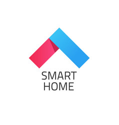 Smart home logo red and blue vector