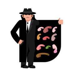 smuggler selling penis cloak-seller male organs vector image
