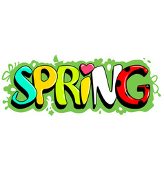 Spring lettering text on green grass template vector