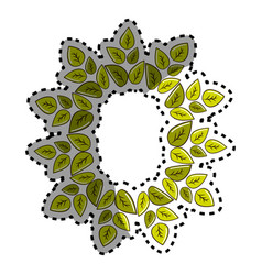 Sticker green round eco leaves vector