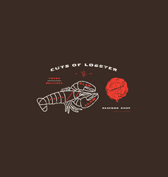 Stock lobster cuts diagram in thin line style vector