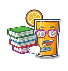 student with book orange juice mascot cartoon vector image
