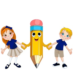Students and pencil vector image