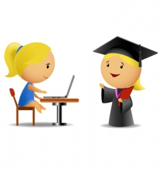 students computer and diploma vector image
