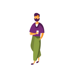 stylish bearded young man in fashion clothing vector image