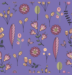 stylized flowers on a purple background vector image