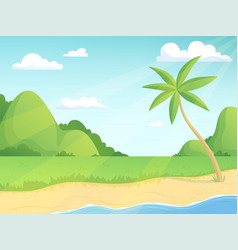 summer landscape green hills palm tree and vector image