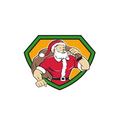 Super Santa Claus Carrying Sack Shield Cartoon vector image