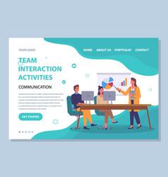 team interaction activities site template vector image