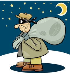 thief with sack cartoon vector image