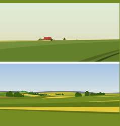 Two green landscape with yellow fields vector