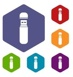USB flash drive icons set vector
