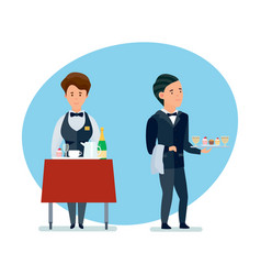 Waiters spill drinks carry sweets in clothes vector