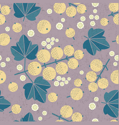 white currant seamless pattern leaves flowers vector image