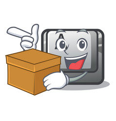 with box button a in cartoon shape vector image