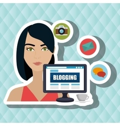 Woman blogs web vector