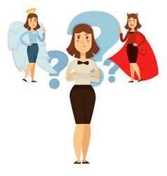 Woman choice between good and behavior people vector
