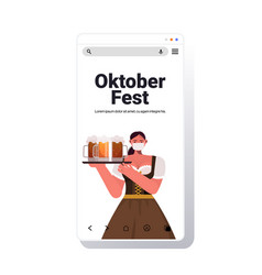 woman in mask holding beer mugs oktoberfest party vector image