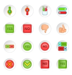 Yes no icons set vector